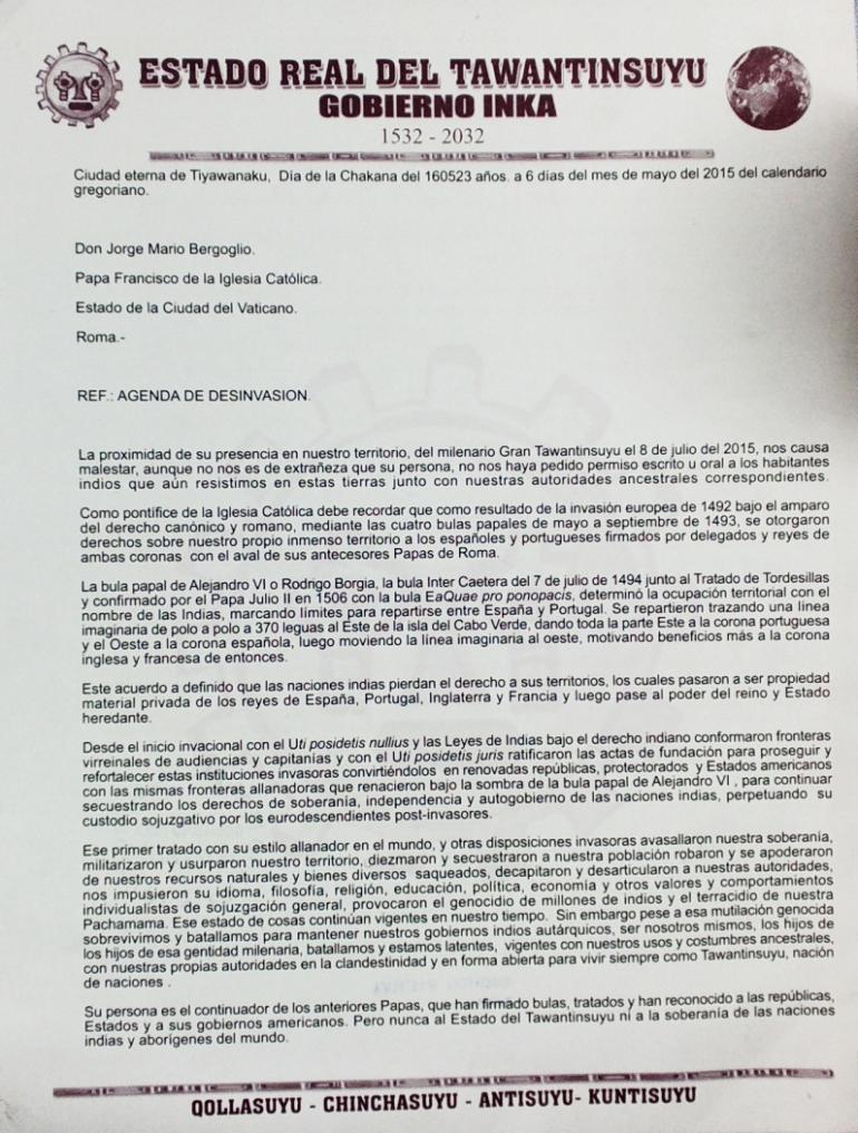 Carta de Tawantinsuyu al Vaticano por el Reconocimiento de la Soberanía de los Pueblos Originarios del Mundo.  6 de mayo de 2015